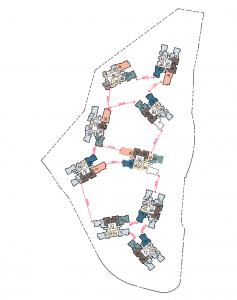 Sengkang Grand Site Plan showing Distances between blocks