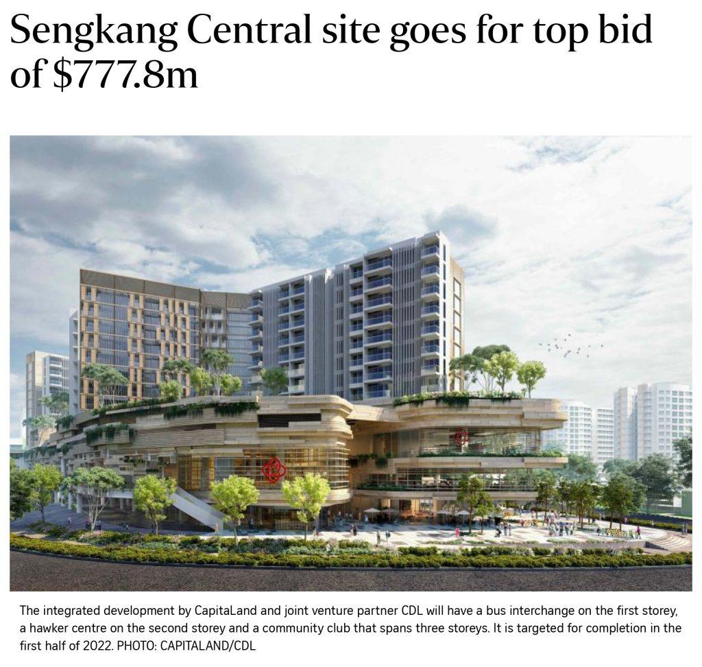 Sengkang Central Site Goes For Top Bid Of $777.8m (17 August 2018)