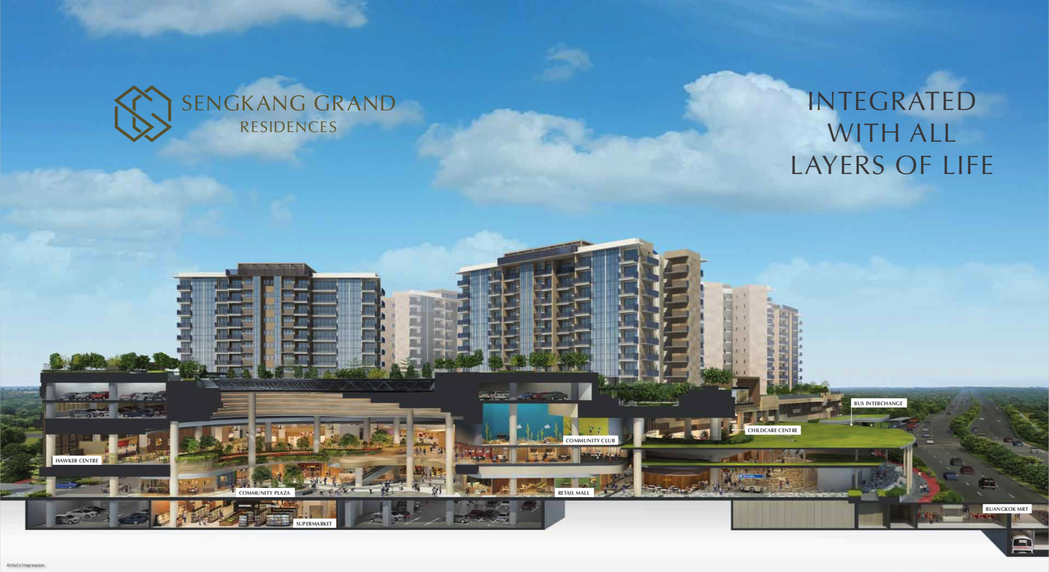 Sengkang Grand Residences Integrated Development Cross Section of Mall