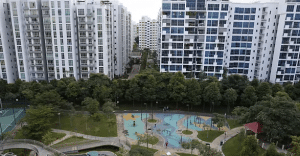 A view of private residential homes and executive condominiums in Singapore.